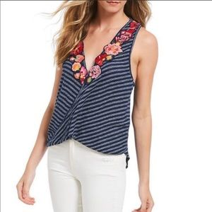 Free People Frida tank floral navy stripe 1353